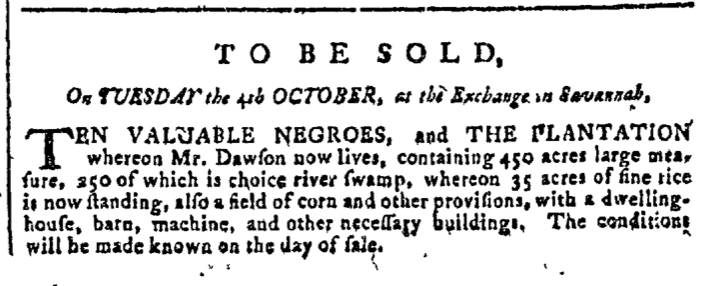 Sep 7 - Georgia Gazette Slavery 1