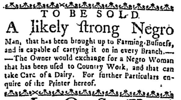 Sep 8 - Massachusetts Gazette Slavery 1