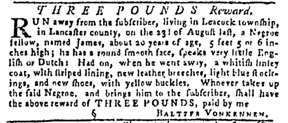 Sep 8 - Pennsylvania Gazette Slavery 1