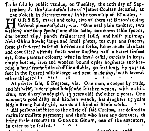 Sep 8 - Pennsylvania Gazette Supplement Slavery 1