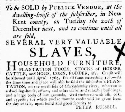 Sep 8 - Virginia Gazette Purdie and Dixon Postsctipt Slavery 1