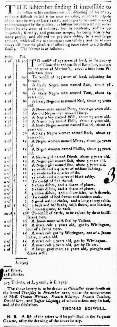 Sep 8 - Virginia Gazette Purdie and Dixon Postsctipt Slavery 2