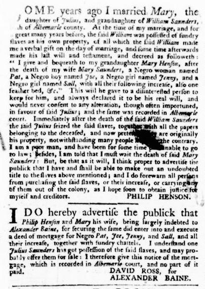 Sep 8 - Virginia Gazette Purdie and Dixon Slavery 12