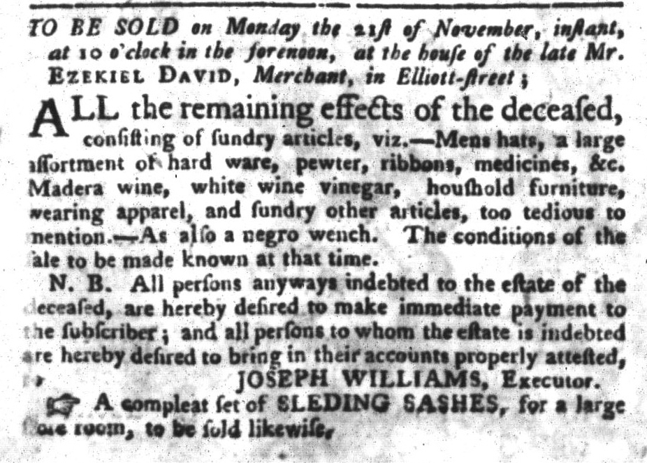 Nov 1 - South-Carolina Gazette and Country Journal Slavery 3