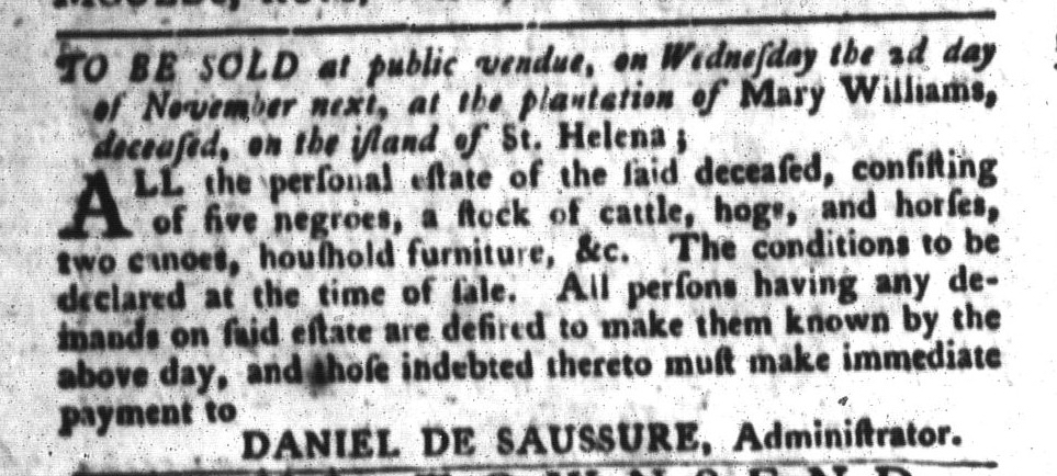 Nov 1 - South-Carolina Gazette and Country Journal Supplement Slavery 1