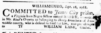 Nov 10 - Virginia Gazette Purdie and Dixon Slavery 11