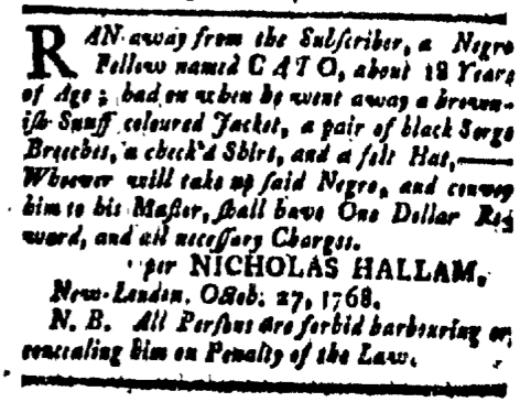 Nov 11 - New-London Gazette Slavery 1