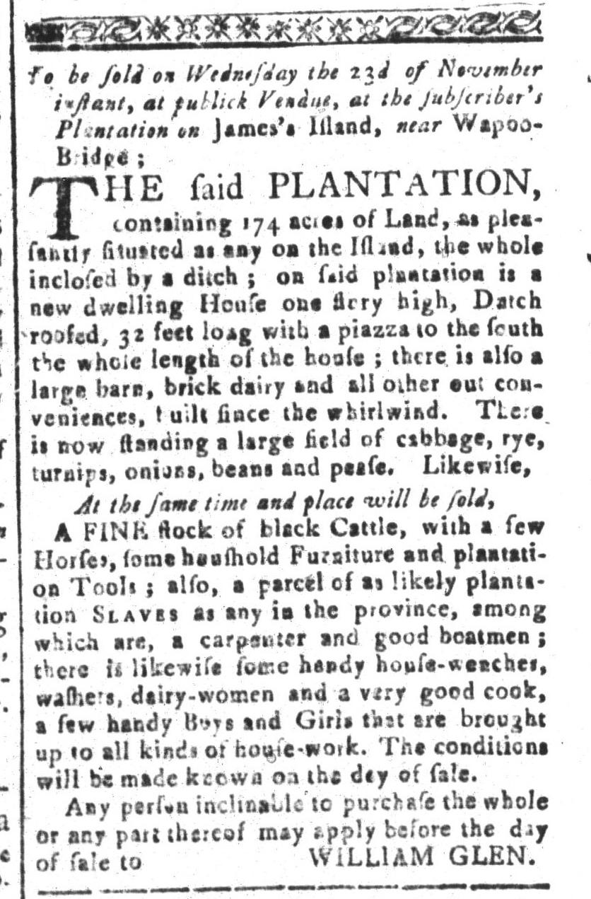 Nov 11 - South-Carolina and American General Gazette Slavery 4