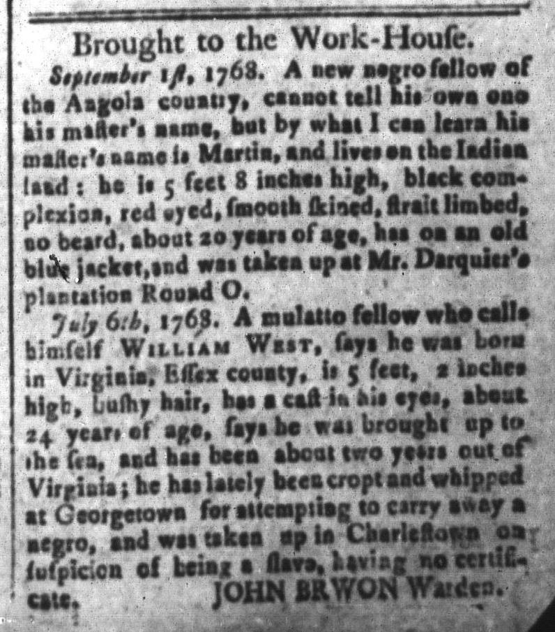 Nov 11 - South-Carolina and American General Gazette Slavery 7