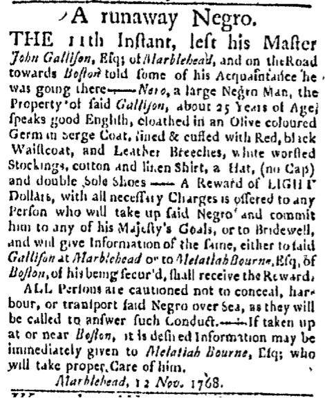 Nov 14 - Boston Evening-Post Slavery 1
