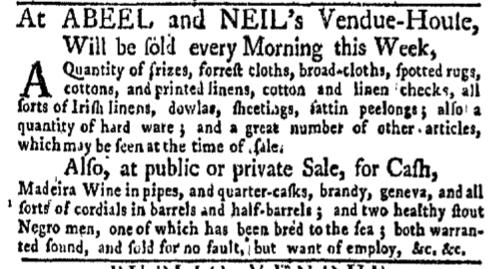 Nov 14 - New-York Gazette Weekly Mercury Slavery 1