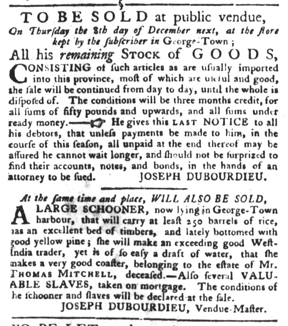 Nov 15 - South-Carolina Gazette and Country Journal Slavery 2
