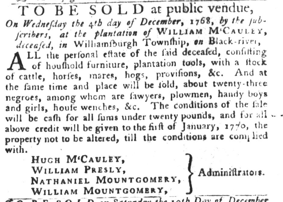 Nov 15 - South-Carolina Gazette and Country Journal Slavery 8