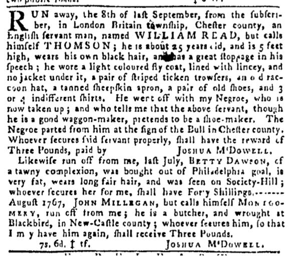 Nov 17 - Pennsylvania Gazette Slavery 2
