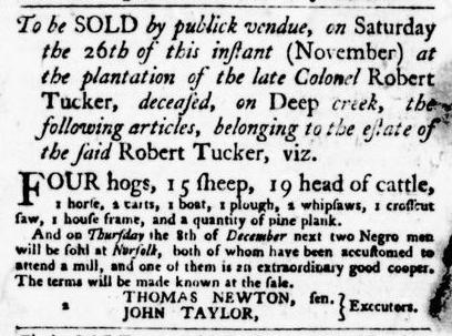 Nov 17 - Virginia Gazette Purdie and Dixon Slavery 1