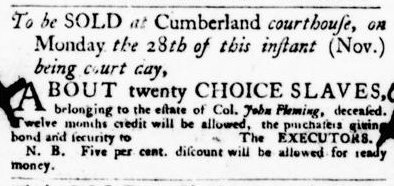 Nov 17 - Virginia Gazette Purdie and Dixon Slavery 4