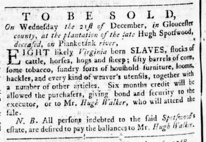 Nov 17 - Virginia Gazette Rind Slavery 1