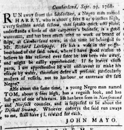 Nov 17 - Virginia Gazette Rind Slavery 14