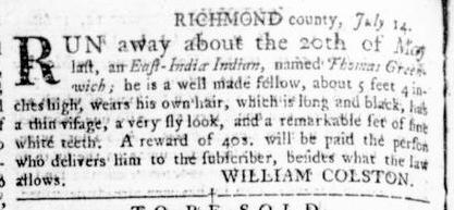 Nov 17 - Virginia Gazette Rind Slavery 17