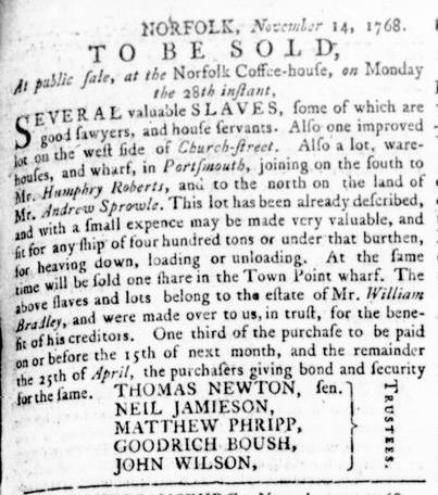 Nov 17 - Virginia Gazette Rind Slavery 2