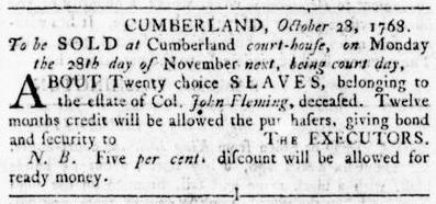 Nov 17 - Virginia Gazette Rind Slavery 5