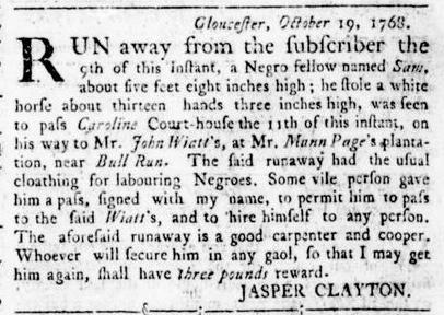 Nov 17 - Virginia Gazette Rind Slavery 8