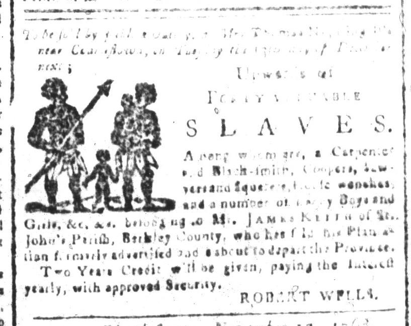 Nov 18 - South-Carolina and American General Gazette Slavery 1