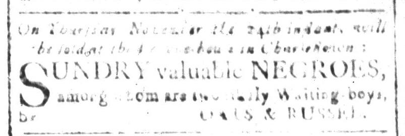 Nov 18 - South-Carolina and American General Gazette Slavery 2