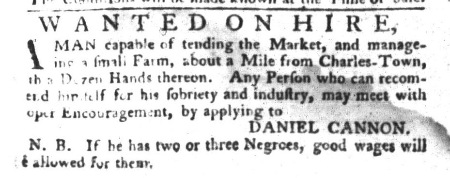 Nov 22 - South-Carolina Gazette and Country Journal Slavery 1
