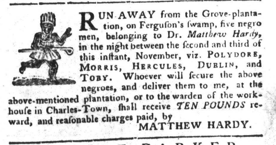 Nov 22 - South-Carolina Gazette and Country Journal Slavery 12