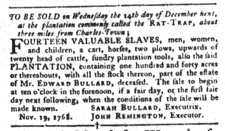 Nov 22 - South-Carolina Gazette and Country Journal Slavery 2
