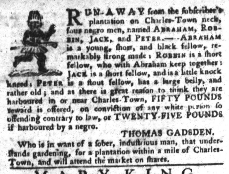 Nov 22 - South-Carolina Gazette and Country Journal Slavery 6