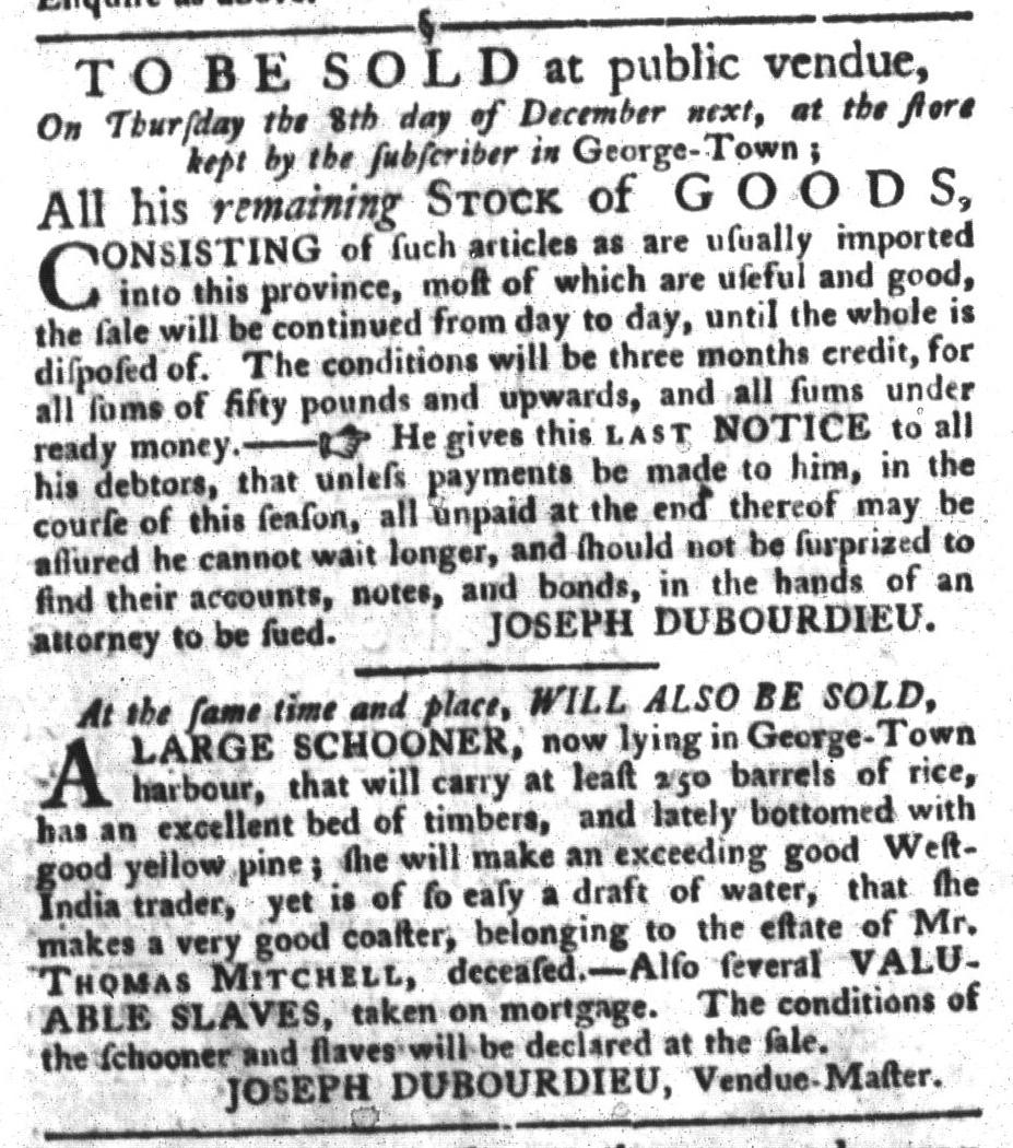 Nov 22 - South-Carolina Gazette and Country Journal Slavery 9
