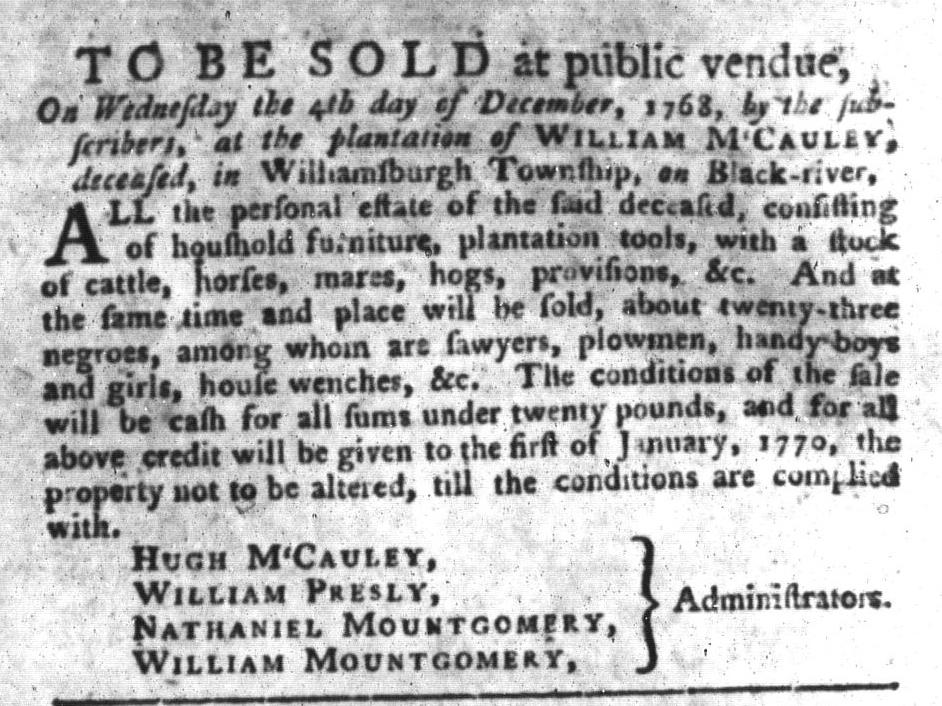 Nov 22 - South-Carolina Gazette and Country Journal Supplement Slavery 1