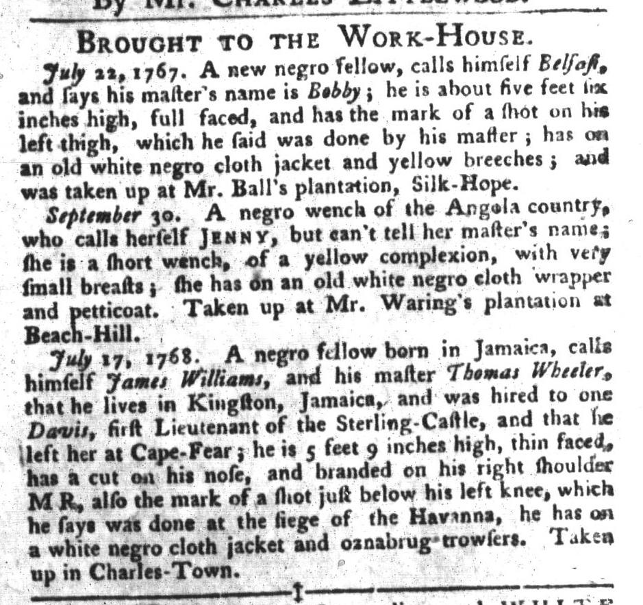 Nov 22 - South-Carolina Gazette and Country Journal Supplement Slavery 2