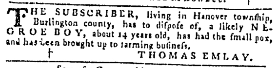Nov 24 - Pennsylvania Gazette Slavery 1