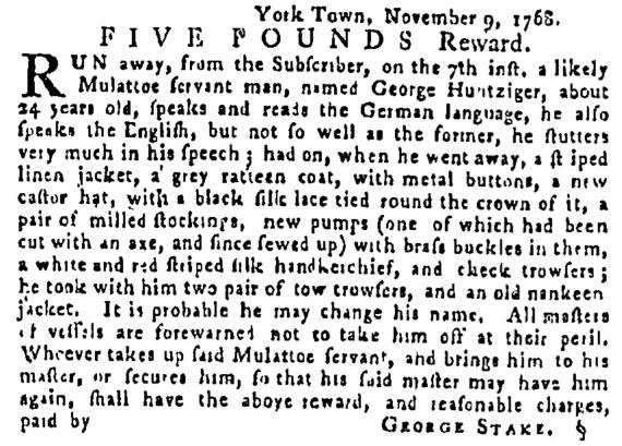Nov 24 - Pennsylvania Gazette Supplement Slavery 1