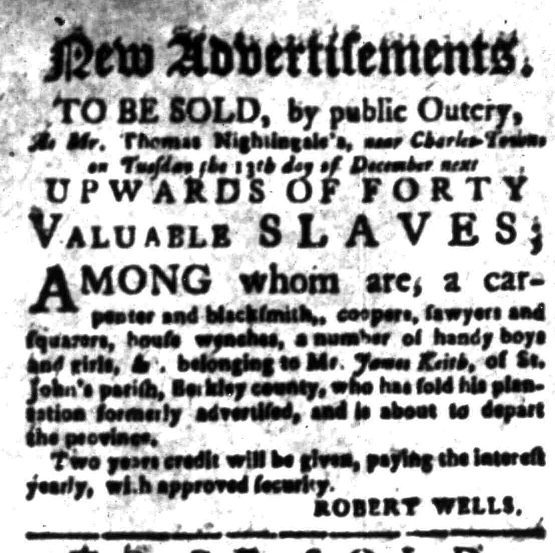 Nov 24 - South-Carolina Gazette Extraordinary Slavery 1