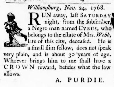 Nov 24 - Virginia Gazette Purdie and Dixon Slavery 3