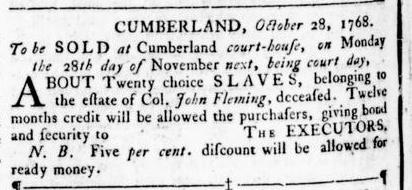 Nov 24 - Virginia Gazette Rind Slavery 11