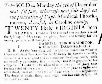 Nov 3 - Virginia Gazette Purdie and Dixon Slavery 2