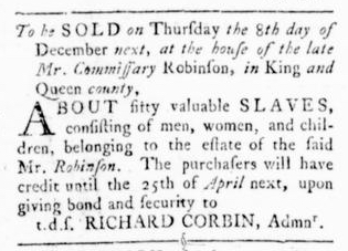 Nov 3 - Virginia Gazette Rind Slavery 1