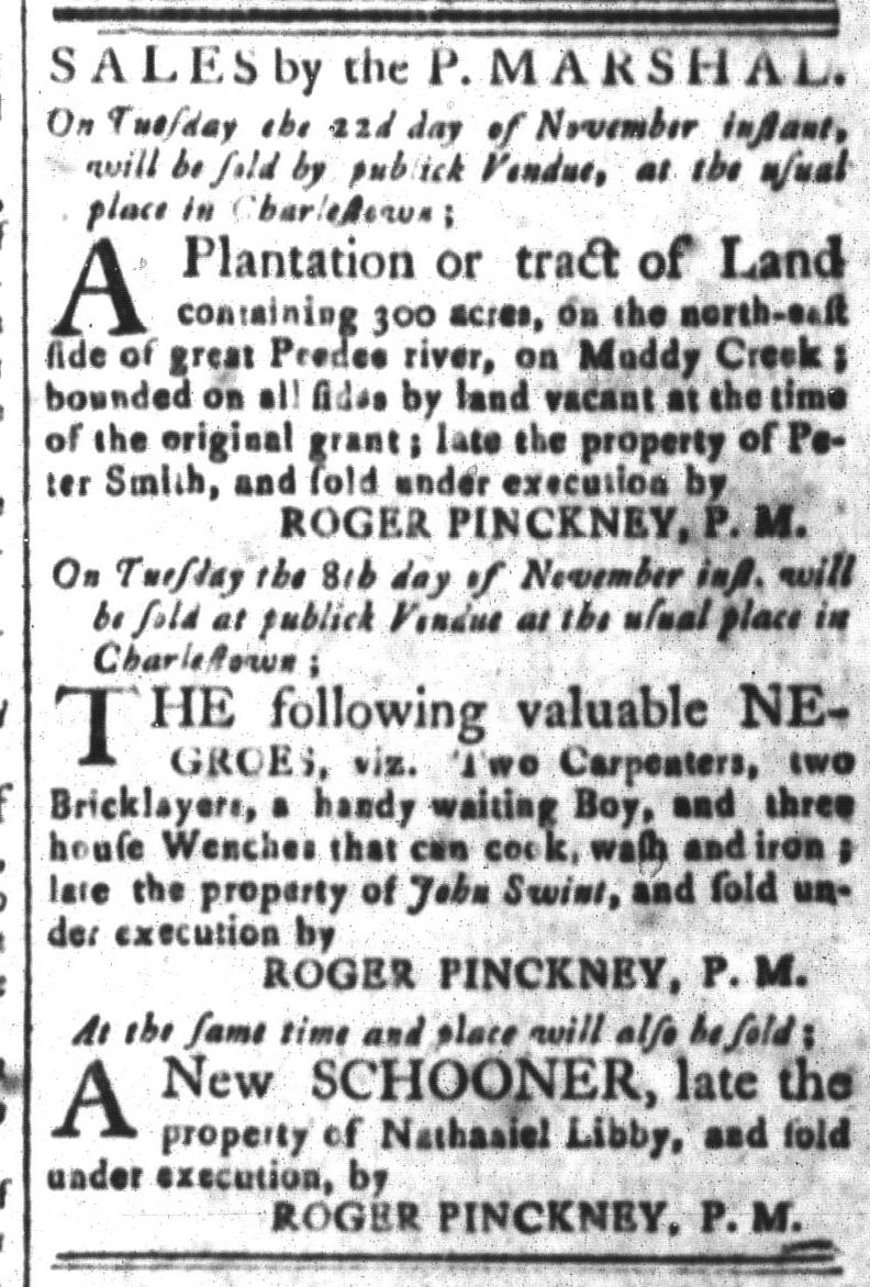 Nov 4 - South-Carolina and American General Gazette Slavery 6