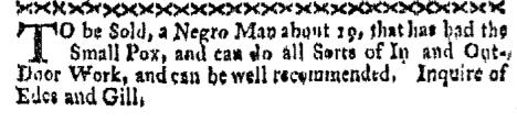 Nov 7 - Boston-Gazette Slavery 1