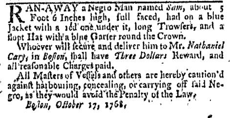 Nov 7 - Boston-Gazette Slavery 3
