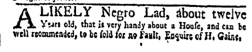 Nov 7 - New-York Gazette Weekly Mercury Slavery 1