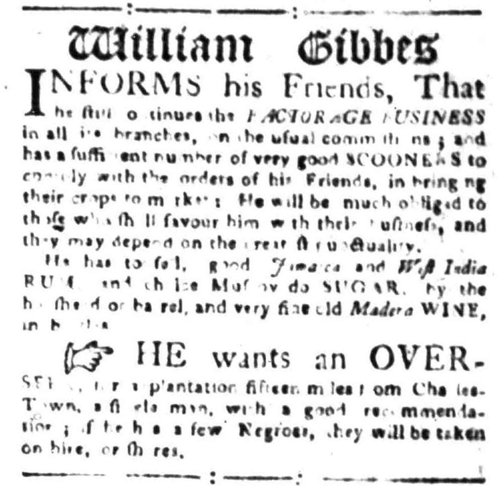 Nov 7 - South-Carolina Gazette Slavery 2