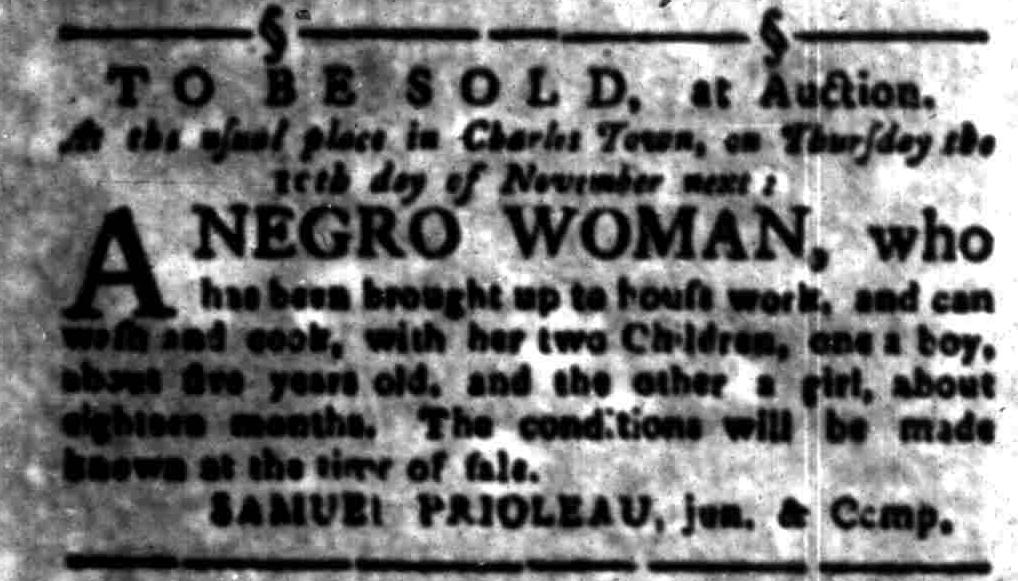 Nov 7 - South-Carolina Gazette Slavery 3