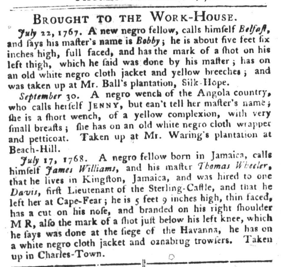 Nov 8 - South-Carolina Gazette and Country Journal Slavery 10