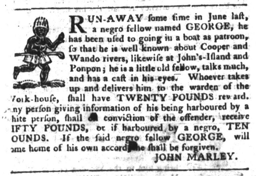 Nov 8 - South-Carolina Gazette and Country Journal Slavery 11
